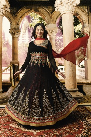 Ayesha Takia Black Georgette Heavy Embroidery Zari, Thread & Diamond Work  Salwar Kameez