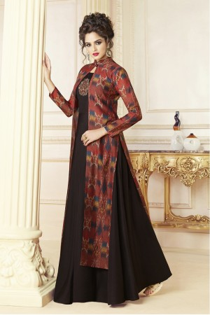 Exuberant Black & Maroon Chanderi Digital Print Digital Print with Patch Work Kurti