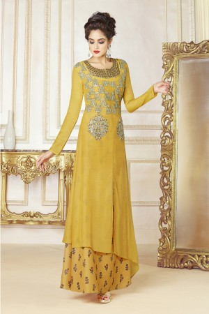 Elegant Yellow Cotton blend Embroidery Patch Work Kurti
