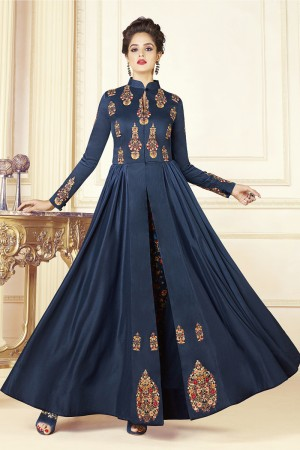 Delusive Dark Blue Silk Digital Print with Embroidery Work Kurti