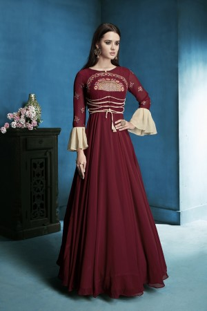 Exuberant Maroon Lichi Georgette Heavy Embridery Zari and Thread Work Salwar Kameez
