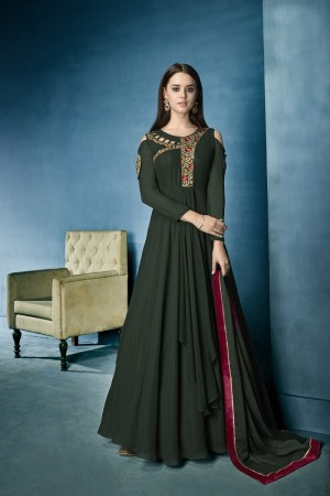 Awesome Dark Green Lichi Georgette Heavy Embridery Zari and Thread Work Salwar Kameez
