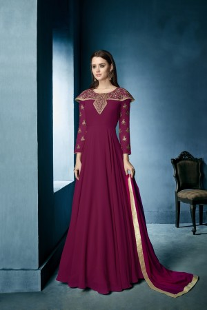 Eye catching Rani Pink Lichi Georgette Heavy Embridery Zari and Thread Work Salwar Kameez