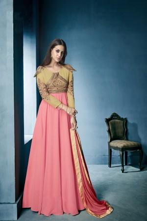 Elegant Pink&Cream Lichi Georgette Heavy Embridery Zari and Thread Work Salwar Kameez