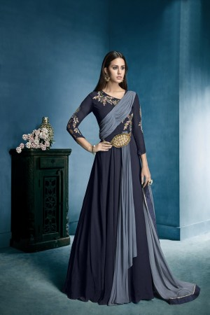 Dynamic Blue Lichi Georgette Heavy Embridery Zari and Thread Work Salwar Kameez