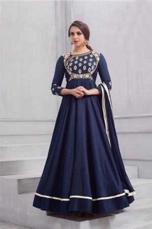 Stunning Blue Taffeta Silk Heavy Embridery Zari and Thread Work on Neck & Sleeve Anarkali Salwar Suit