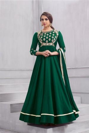 Glitzy Green Taffeta Silk Heavy Embridery Zari and Thread Work on Neck & Sleeve Anarkali Salwar Suit