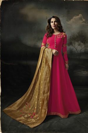 Sophie Choudry Dark Pink Georgette Heavy Embridery Zari Work on Neck & Sleeve with Lace Border Salwar Kameez