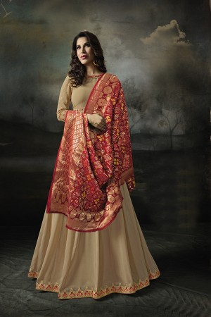 Sophie Choudry Chiku Georgette Heavy Embridery Zari Work on Neck & Sleeve with Lace Border Salwar Kameez
