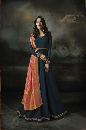 Sophie Choudry Aqua Georgette Heavy Embridery Zari Work on Neck & Sleeve with Lace Border Salwar Kameez