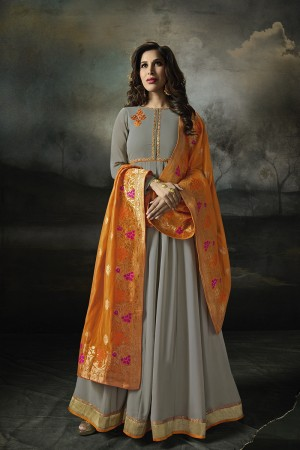 Sophie Choudry Grey Georgette Heavy Embridery Zari Work on Neck & Sleeve with Lace Border Salwar Kameez