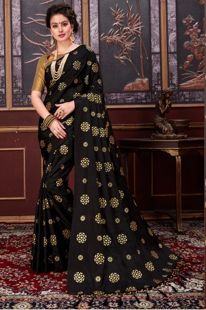 Enchanting Black Two Tone Silk Rubber Print Saree