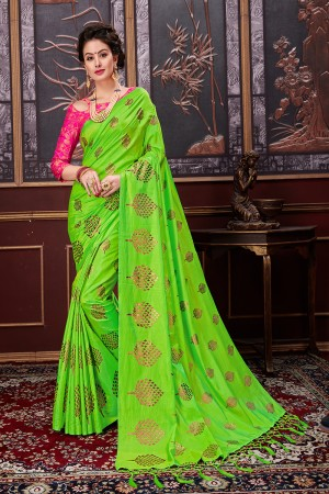 Mesmerising Parrot Green Two Tone Silk Rubber Print Saree