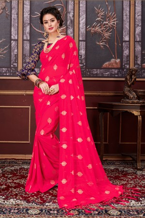 Ethereal Magenta Two Tone Net Rubber Print Saree