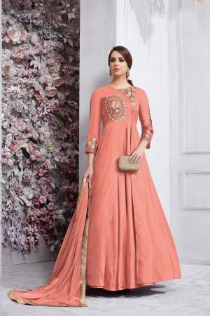 Blissful Orange Tafetta Silk Heavy Embroidery on Neck and Sleeve  Anarkali Salwar Kameez