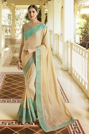 Fab Chiku Fancy Fabric Plain Saree with embroidery Lace Border Saree