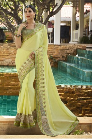 Bedazzling Liril Fancy Fabric Plain Saree with embroidery Lace Border Saree