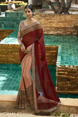 Gorgeous Maroo&Orange Fancy Fabric Plain Saree with embroidery Lace Border Saree