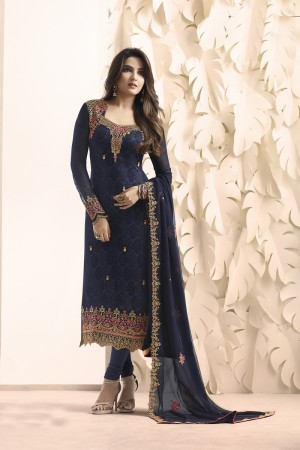 Jasmin Bhasin Blue Georgette Heavy Embroidery on Neck and Sleeve with Embroidery Dupatta  Salwar Kameez
