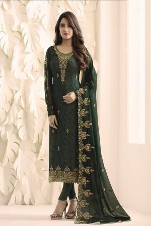 Jasmin Bhasin Dark Green Georgette Heavy Embroidery on Neck and Sleeve with Embroidery Dupatta  Salwar Kameez