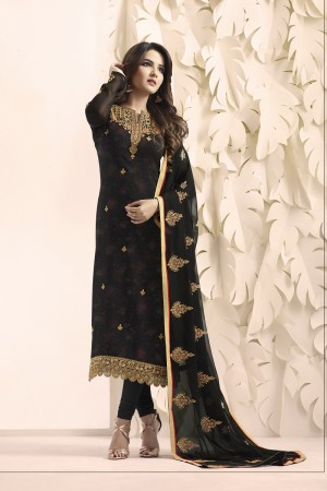 Jasmin Bhasin Black Georgette Heavy Embroidery on Neck and Sleeve with Embroidery Dupatta  Salwar Kameez