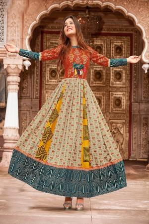 Modest Multicolor Cotton Print Fancy Pattern Kurti