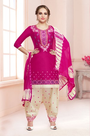 Stupendous Rani Pink Jam Cotton Heavy Embroidery on Neck with Embroidery Bottom Dress Material