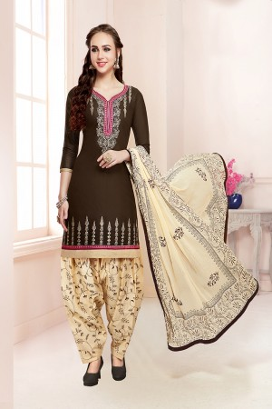 Mind Blowing Coffee Jam Cotton Heavy Embroidery on Neck with Embroidery Bottom Dress Material