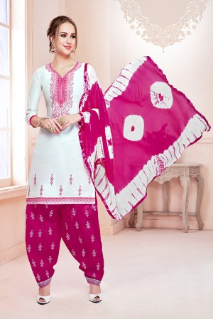 Blissful White Jam Cotton Heavy Embroidery on Neck with Embroidery Bottom Dress Material
