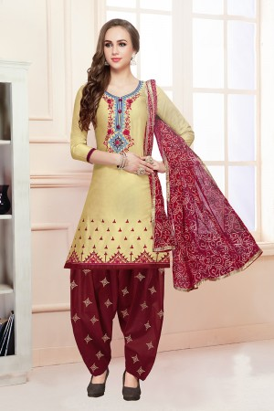 Marvelous Light Yellow Jam Cotton Heavy Embroidery on Neck with Embroidery Bottom Dress Material