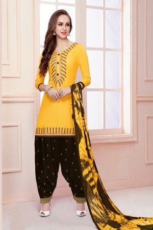 Impressive Mustard Jam Cotton Heavy Embroidery on Neck with Embroidery Bottom Dress Material