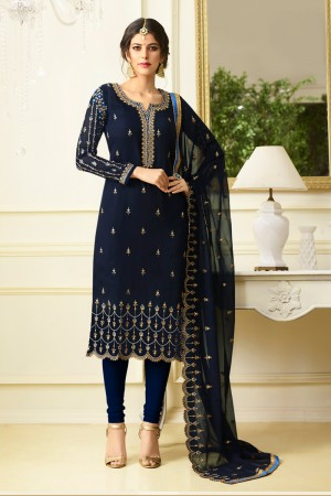 Sparkling Dark Blue Georgette Heavy Embroidery on Neck and Sleeve with Embroidery Dupatta  Salwar Kameez