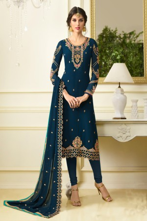 Pleasant Aqua Georgette Heavy Embroidery on Neck and Sleeve with Embroidery Dupatta  Salwar Kameez