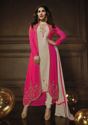 Sophie Choudry Beige&Rani Pink Georgette Heavy Embroidery Zari Work with Jacket Semi Stitch Salwar Kameez