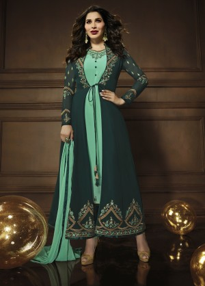Sophie Choudry RamaGreen&Dark Green Georgette Heavy Embroidery Zari Work with Jacket Semi Stitch Salwar Kameez