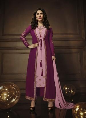 Sophie Choudry Pink&Wine Georgette Heavy Embroidery Zari Work with Jacket Semi Stitch Salwar Kameez