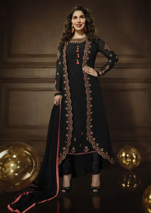 Sophie Choudry Black Georgette Heavy Embroidery Zari Work with Jacket Semi Stitch Salwar Kameez