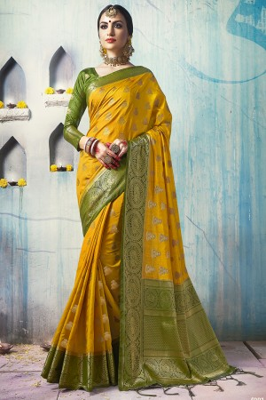 Blissful Yellow Nylon Silk Jacquard Zari Woven Saree with Blouse