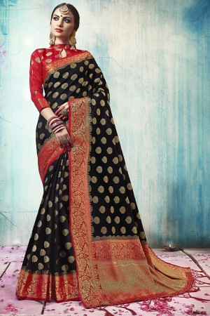 Vibrant Black Nylon Silk Jacquard Zari Woven Saree with Blouse