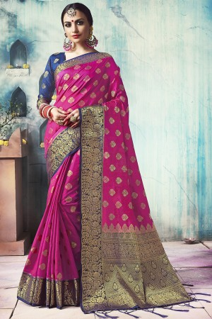 Marvelous Rani Pink Nylon Silk Jacquard Zari Woven Saree with Blouse