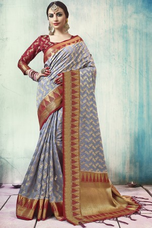 Pleasant Grey Nylon Silk Jacquard Zari Woven Saree with Blouse