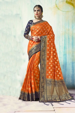 Rust Orange Nylon Silk Jacquard Zari Woven Saree with Blouse