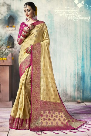 Impressive Cream Nylon Silk Jacquard Zari Woven Saree with Blouse