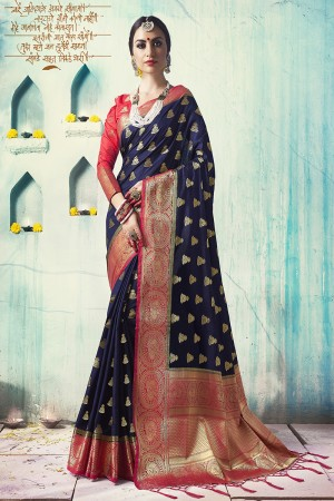 Stylish Navy Blue Nylon Silk Jacquard Zari Woven Saree with Blouse