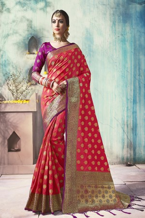 Picturesque Coral Pink Nylon Silk Jacquard Zari Woven Saree with Blouse