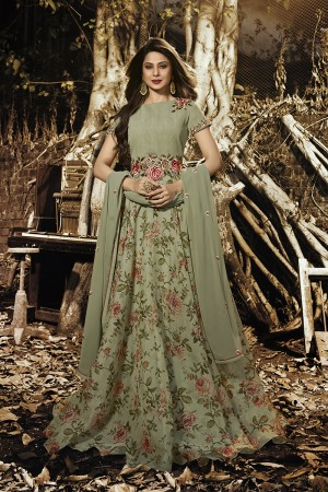 Jennifer Winget Mehendi Organza Silk Resham Embroidery with Digital Print Salwar Kameez