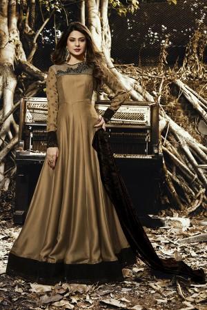 Jennifer Winget Golden Satin Silk & velvet Embroidery on Organza, 4D Table Print on sleeve Salwar Kameez