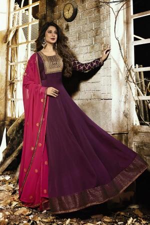 Jennifer Winget Wine Silky Georgette Glitter Squins with Zari Work Salwar Kameez
