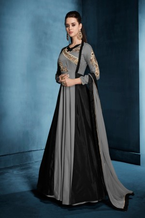 Tremendous Grey & Black Tafetta Silk Heavy Embroidery on Neck and Sleeve  Top Full Stitch with Size XL and Extra MarginSalwar Kameez