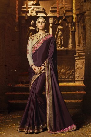 Definitive Wine Silk Heavy Embroidery Badala Zari and Sequance Work with Multi Color Resham Work Saree with Blouse